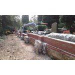 Nordfriedhof, Stand der Bauarbeiten zum Wiederaufbau der Friedhofsmauer am 17. September 2019.