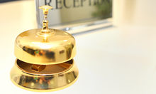 Hotel reception with bell and key