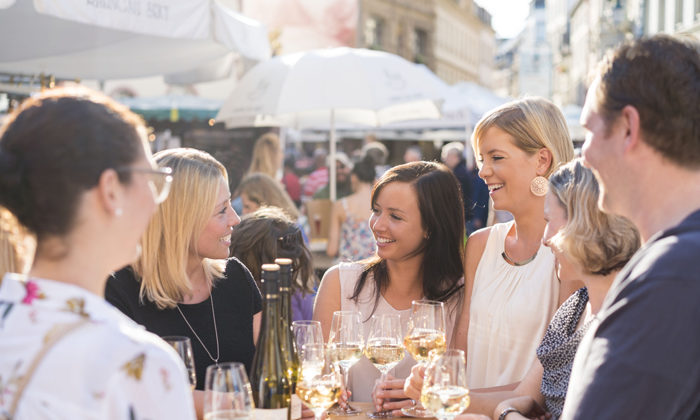 Rheingau Wine Festival in the heart of the city between city hall, parliam